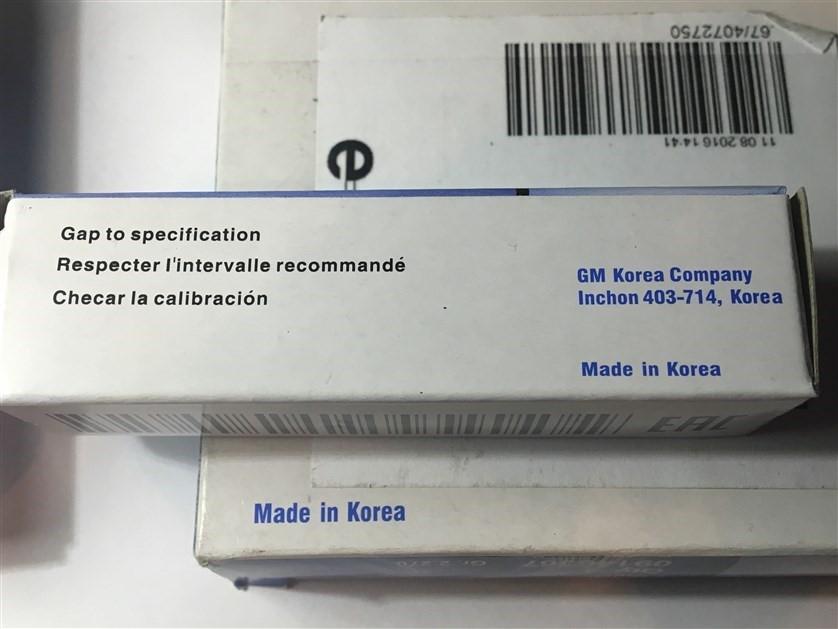 На корпусе свечек указано Germany, на упаковке Made in Korea