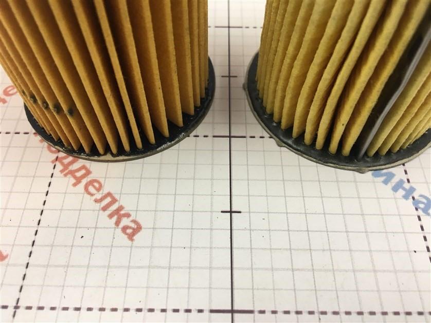 Отличается материал склеивания фильтрующего элемента, в оригинале материал эластичен.