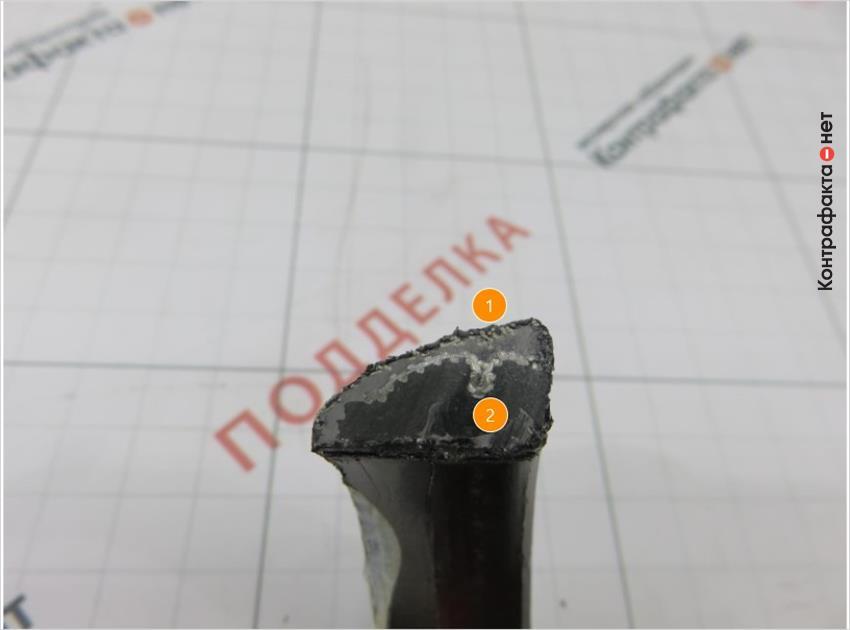 1. Металлические волокна используются только на внешней стороне.   2. Внутреннее строение полностью из графита.