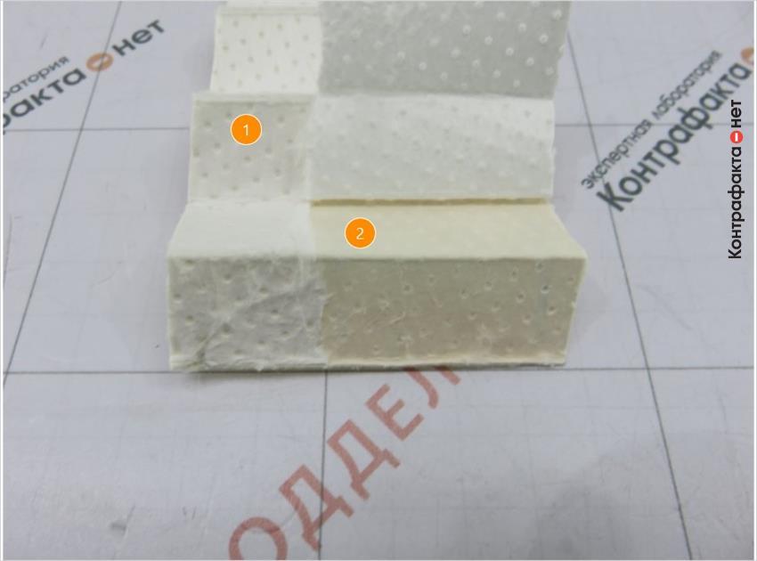1. Текстура бумаги перфорирована точками. | 2. Верхний слой фильтрующего элемента легко отделяется от основания.