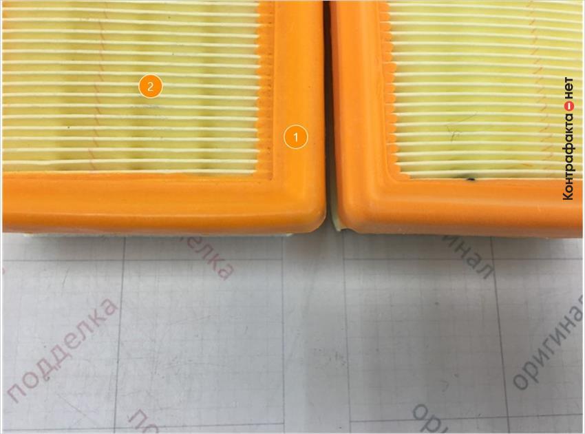 1. Отличается упругость полиуретановой окантовки. | 2. Отличается материал фильтрующего элемента.