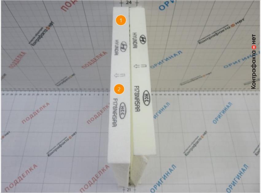 1. Габариты фильтра большего размера.   2. Бледное нанесение маркировки.