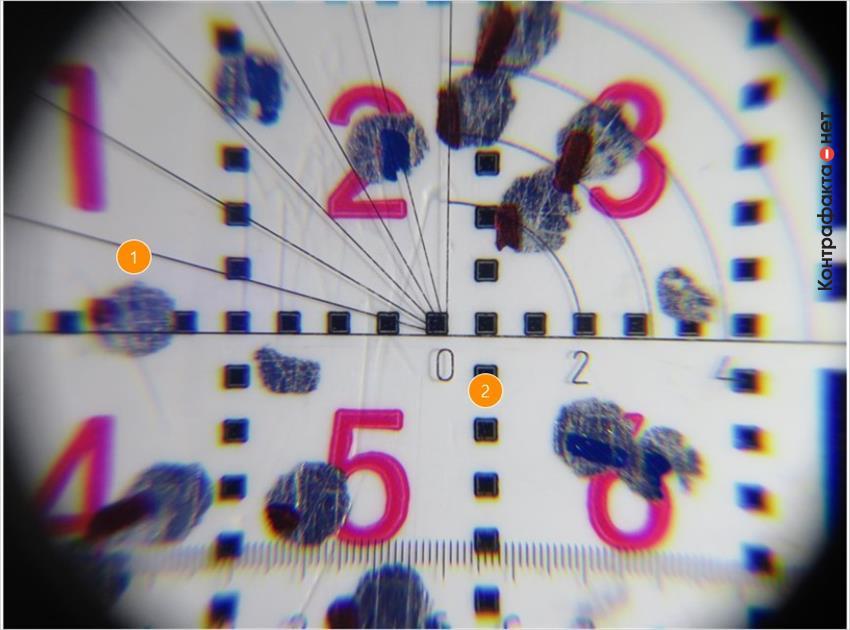 1. Проверочные точки круглой формы, выполнены красящим веществом имитирующие объемно-нанесенные элементы. | 2. Линии сетки образованы квадратами.