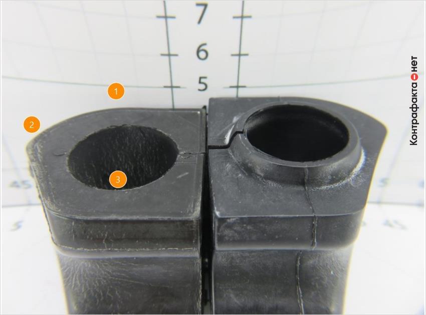 1. Размер меньше оригинала. | 2. Конструктивное различие. | 3. Отсутствует бортик внутренней окружности.