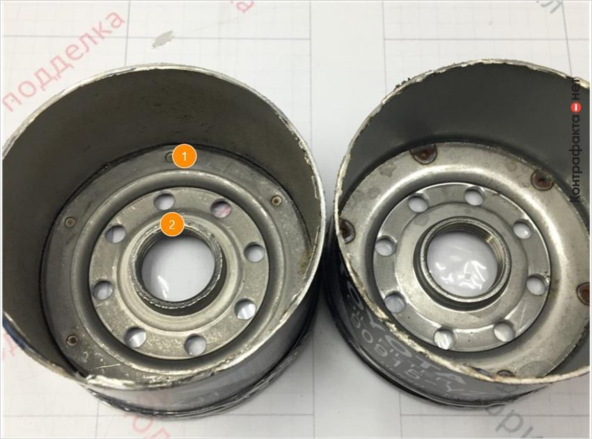 1. Отличается способ соединения корпуса фильтра с резьбовой частью, в оригинале использована точечная сварка.   2. Отсутствует обработка внутренней резьбовой части.