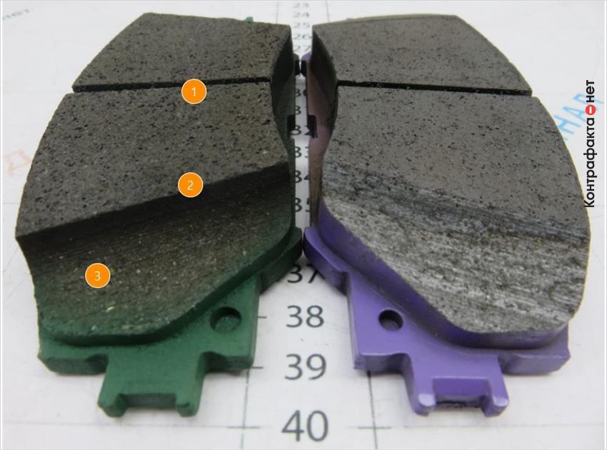 1. Менее однородный слой фрикционной накладки. | 2. Скос другой формы. | 3. Красящий материал нанесен на накладку.