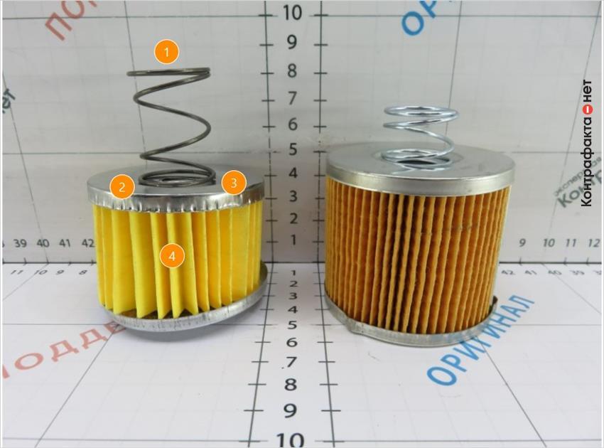1. Отличается прижимная пружина. | 2. Тонкий металл образует волнистость поверхности от заданной формы. | 3. Габариты фильтрующего элемента меньшего размера. | 4. Оттенок фильтровальной бумаги не соответствует оригиналу.