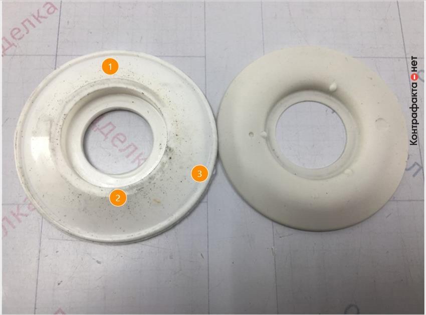 1. 1. Форма обратного клапана отличается.   2. 2. Отсутствует маркировка.   3. Присутствуют облои.