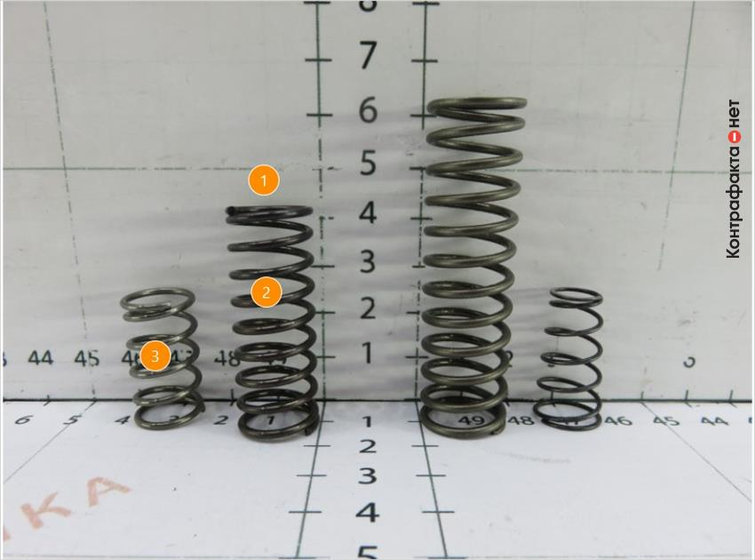 1. Используется проволока меньшего диаметра.   2. Количество витков 9 (оригинал 12).   3. Пружина цилиндрической формы.