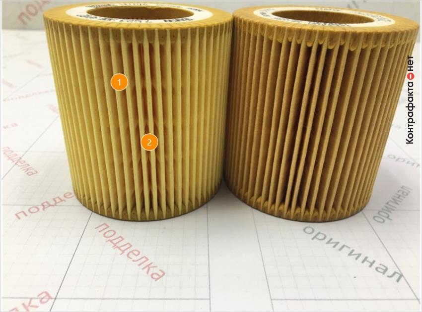 1. Отличается материал и плотность сот фильтрующего элемента.   2. Более выраженные следы от пресс- формы.