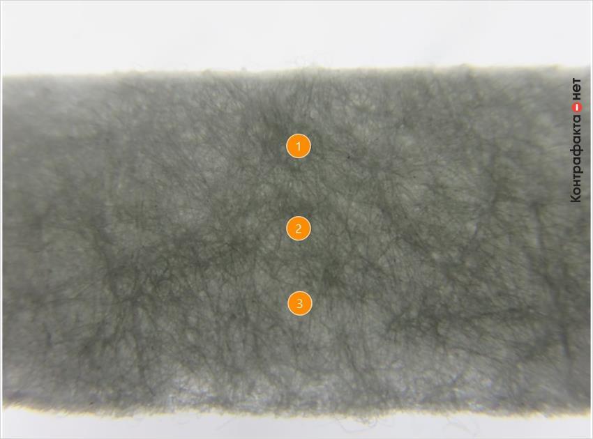 1. Используются волокна более короткого размера. | 2. Плотность больше оригинала. | 3. Фильтр на ощупь жесткий и шершавый.