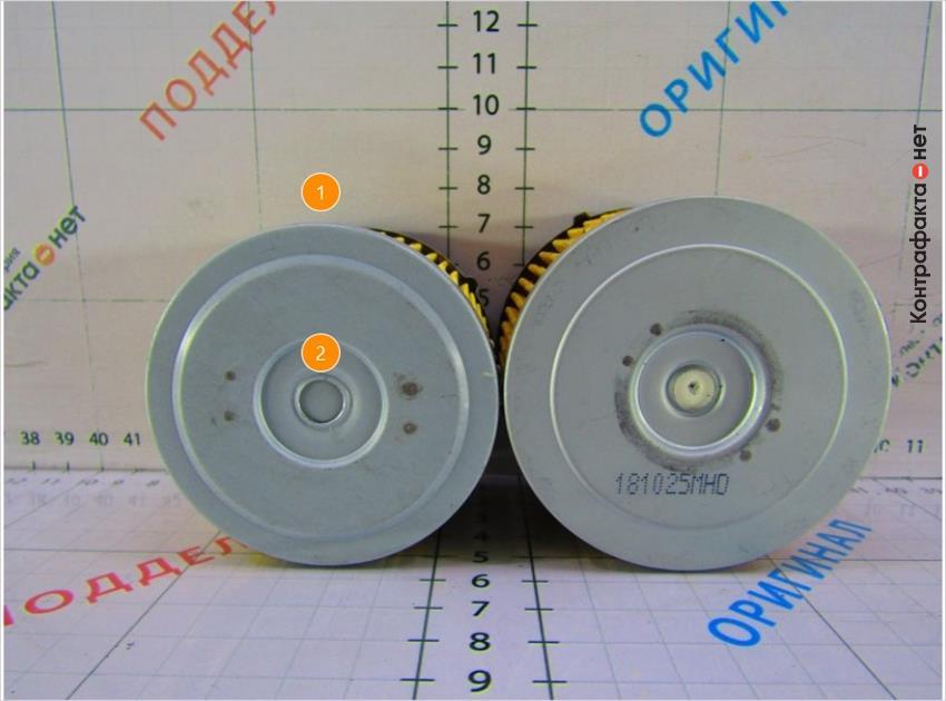 1. Фильтрующий элемент меньшего размера. | 2. Металлический обводной клапан.