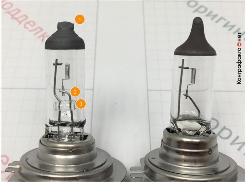 1. Отличается форма верхнего колпачка. | 2. Отличается изгиб электрода. | 3. Присутствует стеклянный держатель электродов.
