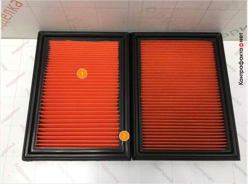 1. Отличается материал, плотность и кол-во сот фильтрующего элемента. | 2. Отличается упругость полиуретановой окантовки.