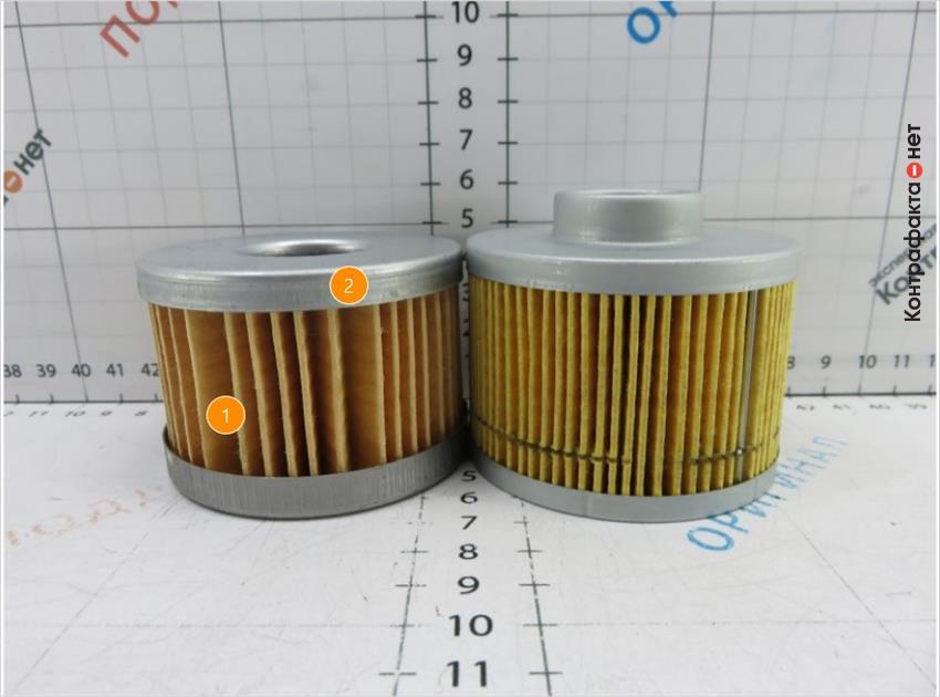 1. Количество ламелей меньше, чем у оригинала. | 2. Неравномерное расположение фильтрующих ламелей.