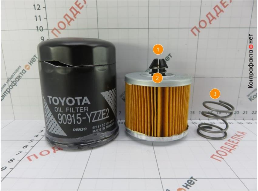 1. Фильтрующий элемент меньшего размера. | 2. Конструктивное отличие. | 3. Используется пружина вместо прижимной пластины.