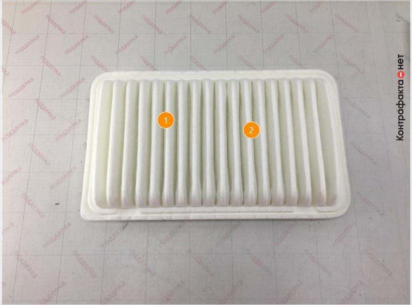 1. Отличается материал и плотность сот фильтрующего элемента. | 2. Имеет отличие пресс-форма фильтрующего элемента (складок).