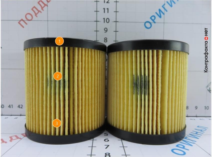 1. Пластиковая крышка меньшего размера. | 2. Не четкое нанесение отметки отк. | 3. Количество сот фильтрующего элемента 69 ( у оригинала 66).