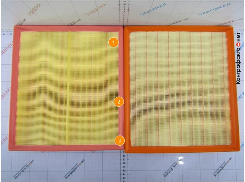 1. Количество ламелей 105( у оригинала 123). | 2. Полиуретановый материал другого оттенка. | 3. Меньший размер фильтра.
