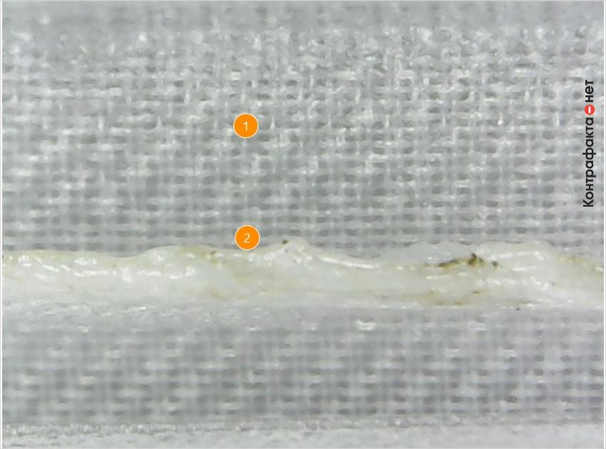 1. Разный размер ячеек. | 2. Шов спайки сетки выполнен криво.