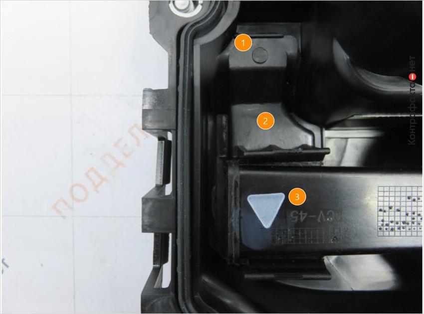1. Не нанесено клише с датой производства. | 2. Отсутствует номер детали входящий в состав клапанной крышки. | 3. Лишняя маркировка.