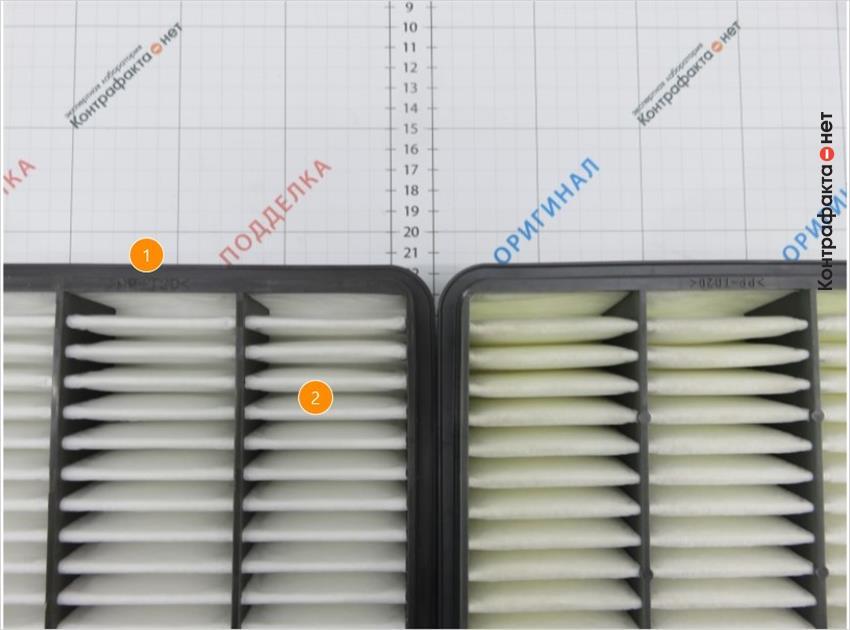 1. Маркировка нанесена в перевёрнутом виде. | 2. Отличается материал и плотность сот фильтрующего элемента.