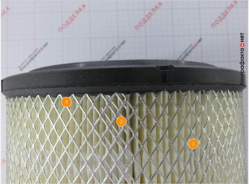 1. Более крупная перфорация металлической сетки фильтра. | 2. Соединение сетки внахлест с припоями. | 3. Отсутствует отметка.