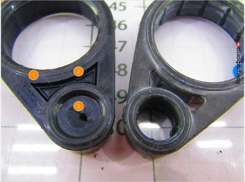 1. Острые углы фигурного элемента. | 2. Не выполнено сквозное отверстие. | 3. Многочисленные остатки резины.
