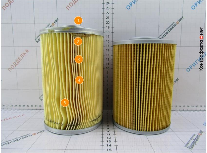 1. Фильтр выше на 19мм.   2. Подтеки клея.   3. Светлый оттенок фильтрующего материала.   4. Используется 101 ламель, в оригинале 79.   5. Ламели деформированы.