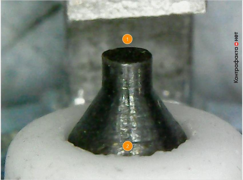 1. Отсутствует иридиевый наконечник. | 2. Колотые края изолятора.