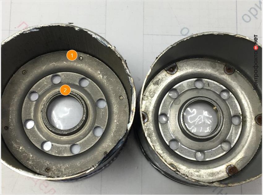 1. Отличается способ соединения корпуса фильтра с резьбовой частью, в оригинале использована точечная сварка. | 2. Отсутствует обработка внутренней резьбовой части.