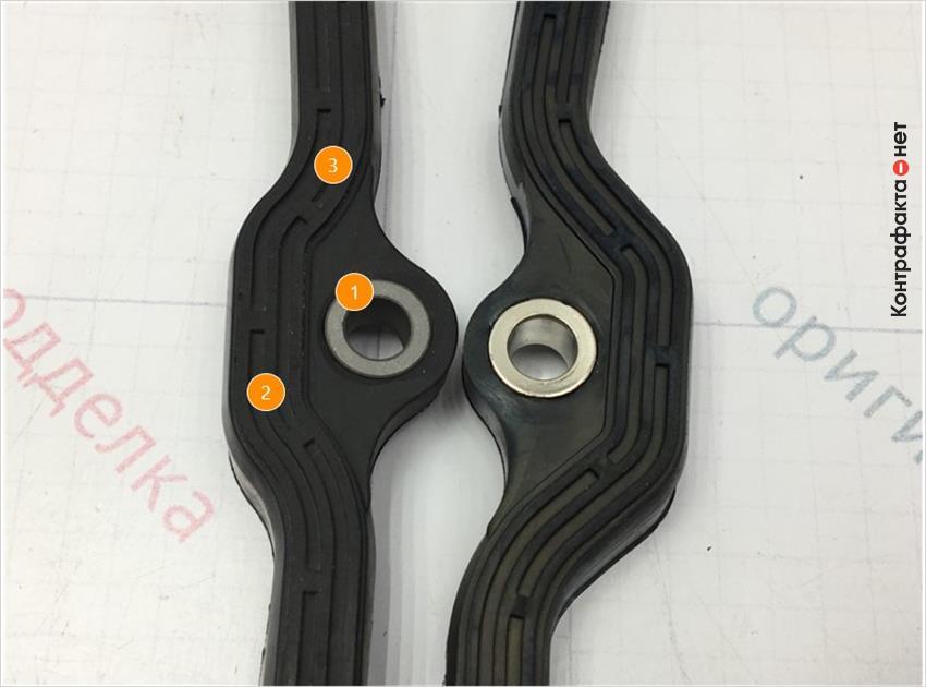 1. Отличается оттенок цвета метала.   2. Отличается эластичность резины.   3. Отсутствует внешняя обработка.