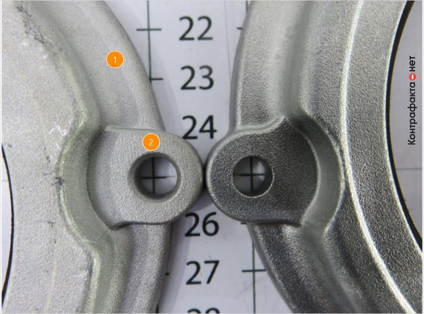 1. Оттенок металла не соответствует оригиналу.   2. Отверстие большего диаметра.