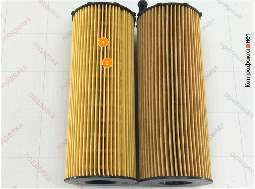 1. Отличается оттенок цвета материала фильтрующего элемента. | 2. Отличается материал и плотность сот фильтрующего элемента.