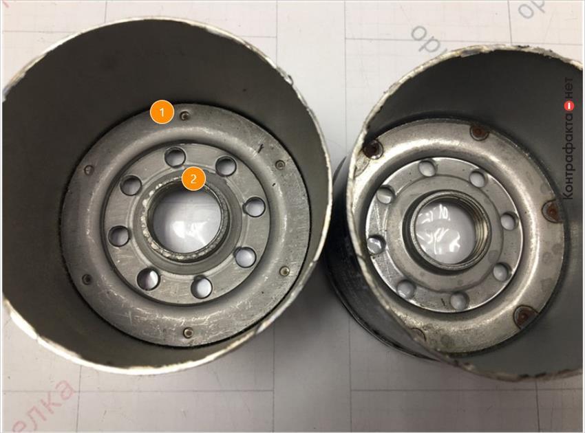 1. Отличается способ соединения корпуса фильтра с резьбовой частью, в оригинале использована точечная сварка.   2. Отсутствует обработка внутренней части корпуса.