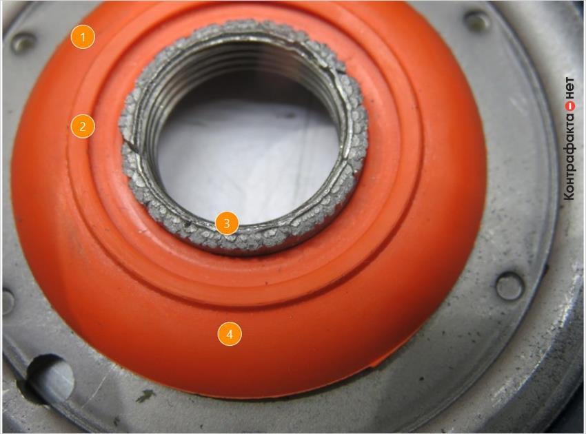 1. Сигнально оранжевый цвет противодренажного клапана. | 2. Форма не соответствует оригиналу. | 3. Остатки металла по краю выходного отверстия. | 4. Не нанесена маркировка производителя.