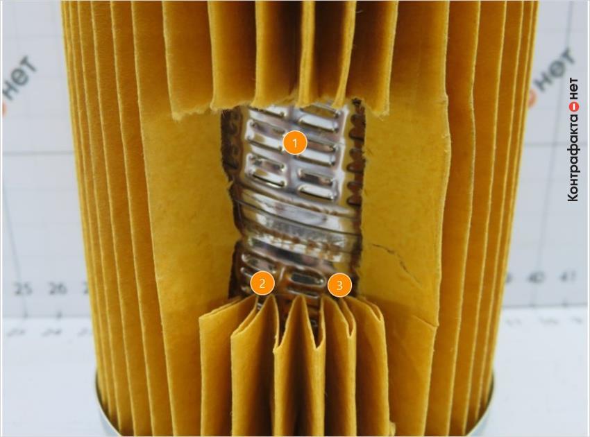1. Отверстия частично не перфорированы. | 2. Отсутствует многослойный фильтрующий элемент. | 3. Тонкая фильтрующая бумага.