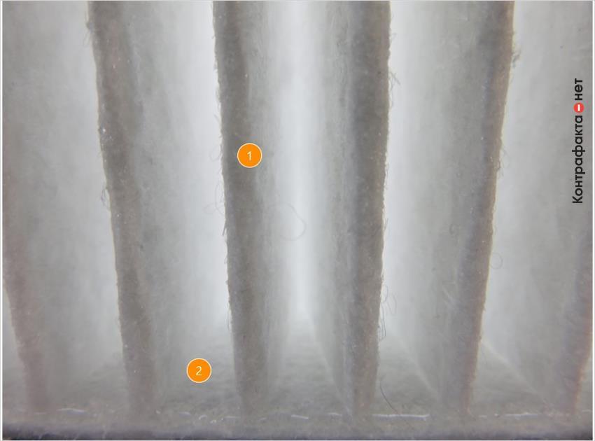 1. Плотный слой фильтрующего волокна.   2. Обильное нанесение клея.