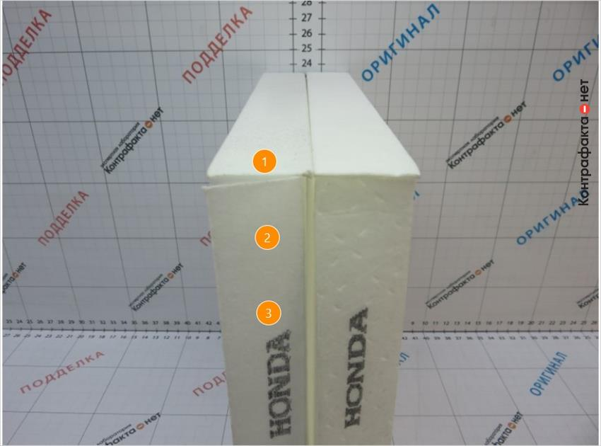 1. Низкокачественная склейка фильтрующего элемента. | 2. Отсутствуют технологические выступы после формовки. | 3. Нечеткое нанесение маркировки.