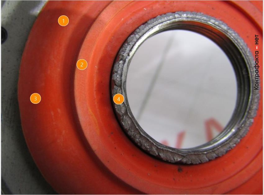 1. Противодренажный клапан сигнально оранжевого цвета. | 2. Разная форма. | 3. Не нанесена маркировка производителя. | 4. Остатки металла по краю выходного отверстия.