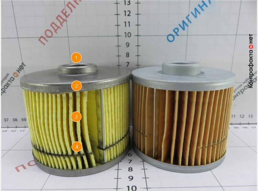 1. Крышка меньшей высоты. | 2. Не загрунтованная поверхность. | 3. Отличается цвет и плотность фильтрующего элемента. | 4. Используется 68 ламелей, в оригинале 70.