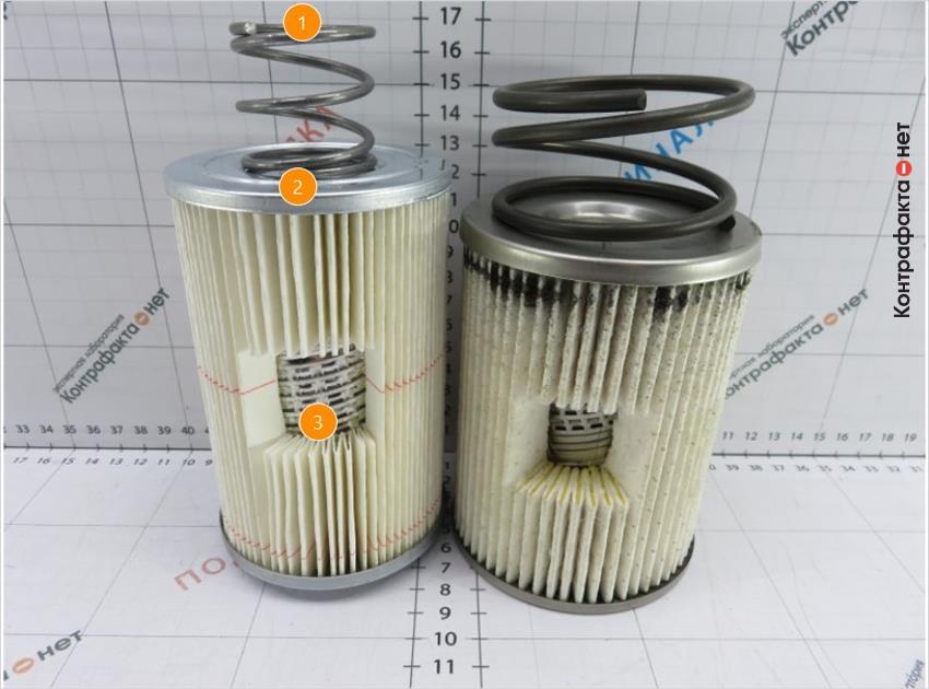 1. Диаметр пружины и толщина проволоки меньше оригинала. | 2. Фильтр большей высоты. | 3. Отсутствует многослойный фильтрующий элемент.