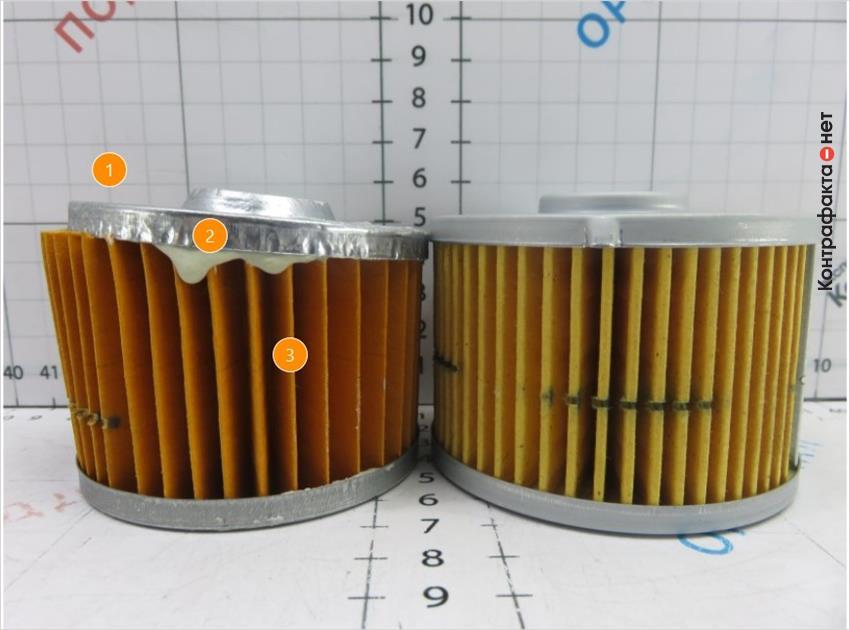 1. Дефекты изготовления и сборки составляющих фильтра. | 2. Подтеки клеящего состава. | 3. Оттенок и количество ламелей не соответствует оригиналу.