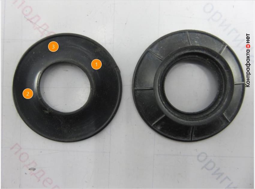 1. Форма обратного клапана отличается. | 2. Отсутствует маркировка. | 3. Отсутствует внешняя обработка тальком.