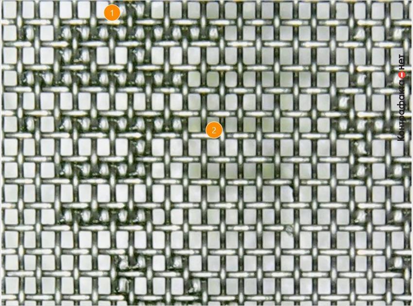 1. Множественные дефекты тканой сетки фильтра. | 2. Преимущественно ячейки прямоугольной формы с более крупным размером.