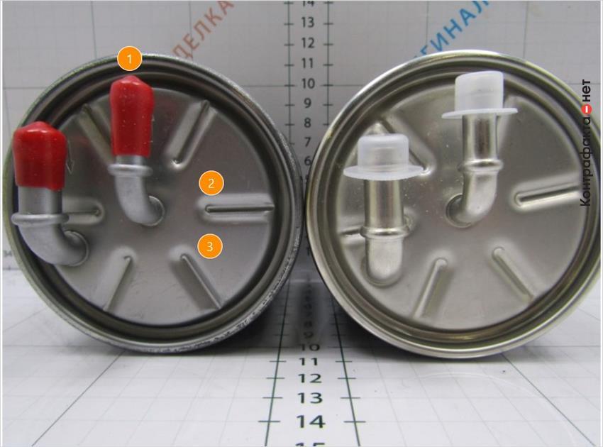 1. Защитные колпачки разной конструкции. | 2. Более выражены следы от пресс-формы. | 3. Темный оттенок металла.
