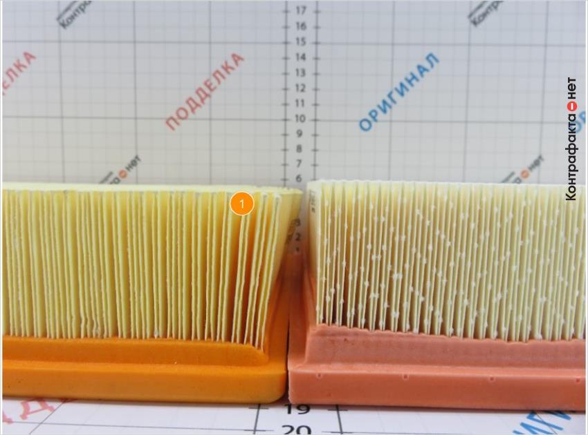 1. Присутствуют отличия в размере сот фильтрующего элемента.