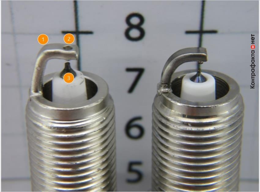 1. Боковой электрод г-образной формы. | 2. Выполнена имитация технологии twin-tip. | 3. Разная форма и цвет центральных электродов.