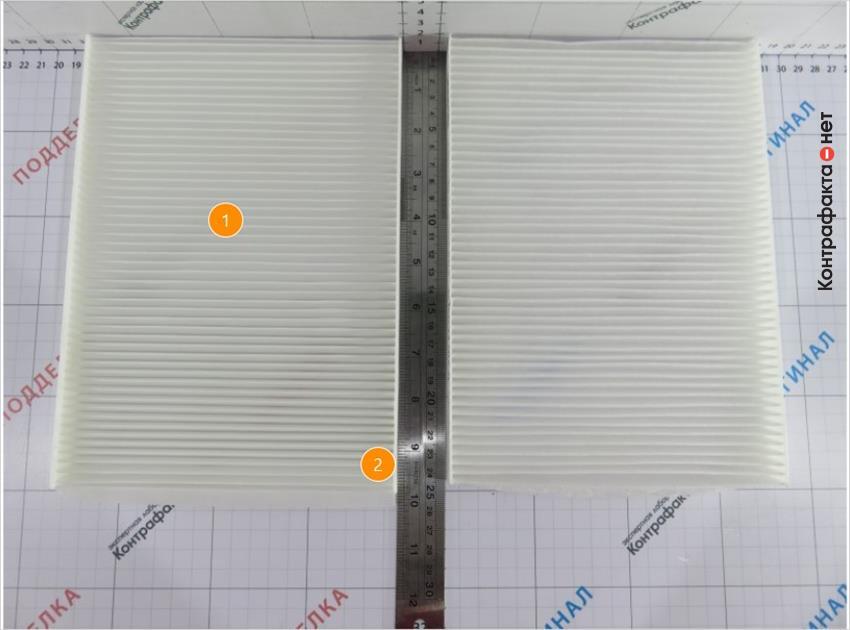 1. В фильтре использовано 52 ламели, у оригинала 49.   2. Корпус длиннее на 2 мм.