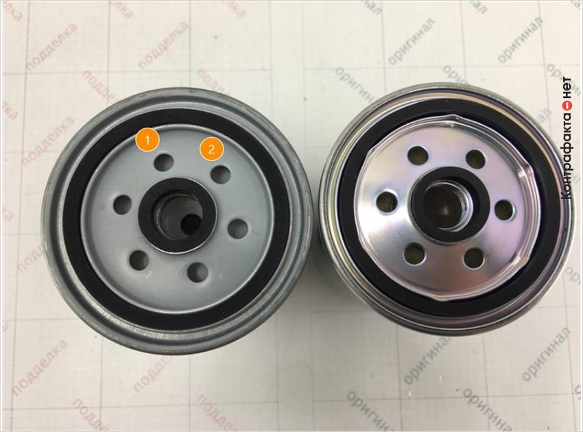 1. Фильтр имеет конструктивные отличия. | 2. Отличается оттенок цвета металла.